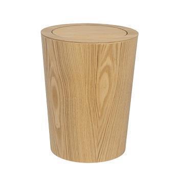 木製ダストボックス 蓋付丸  NA