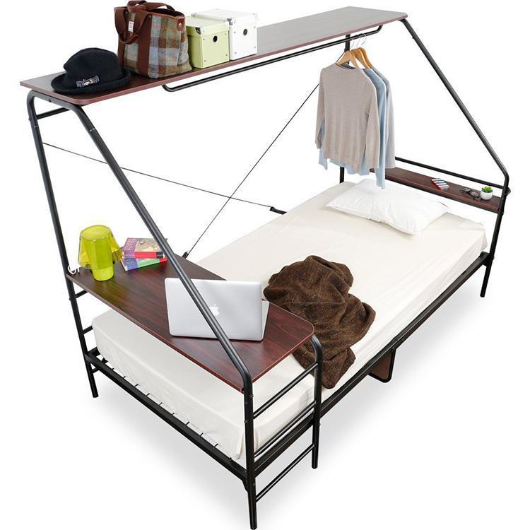 多機能ベッド 棚付き  BK  S