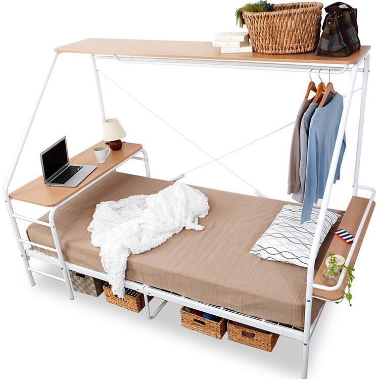 多機能ベッド 棚付き  WH  S