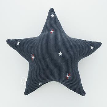 刺繍コーデュロイ 星クッション 45cm×45cm NV HSC-STC45