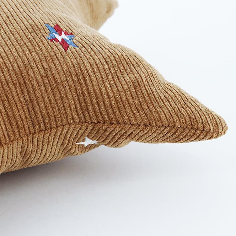 刺繍コーデュロイ 星クッション 45cm×45cm BR HSC-STC45