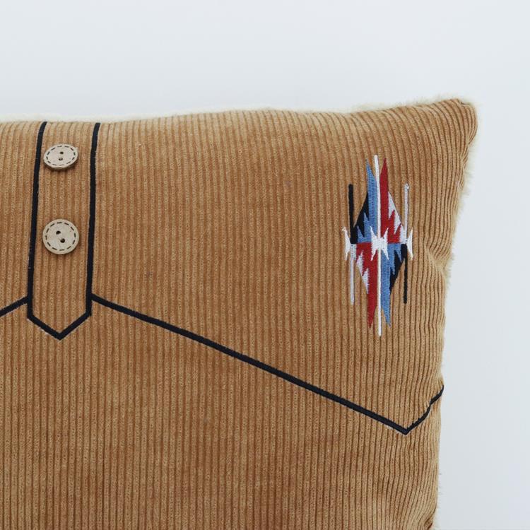 刺繍コーデュロイ 背当クッション  BR 45×45