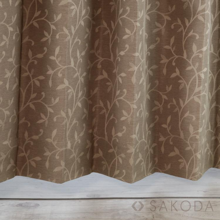 AT HOME Nリーフ2カーテン2枚組 100X225cm BR