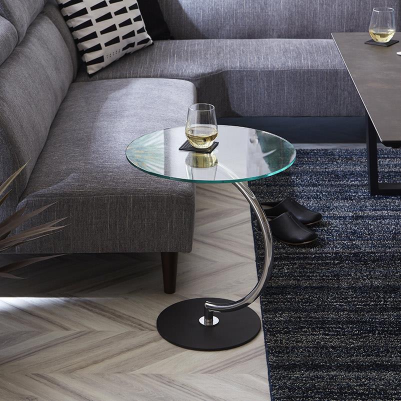 ブラス「LLT-8514」 (クリアガラス) サイドテーブル