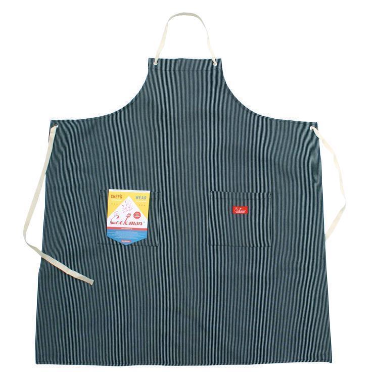 Cookman ロングエプロン ヒッコリー(ネイビー) Fサイズ