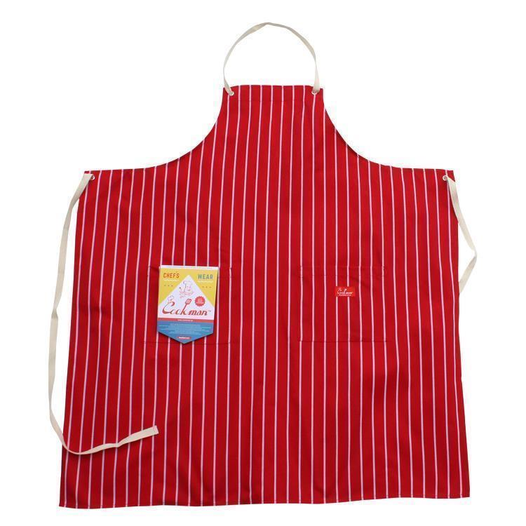 Cookman ロングエプロン ストライプ(レッド) Fサイズ