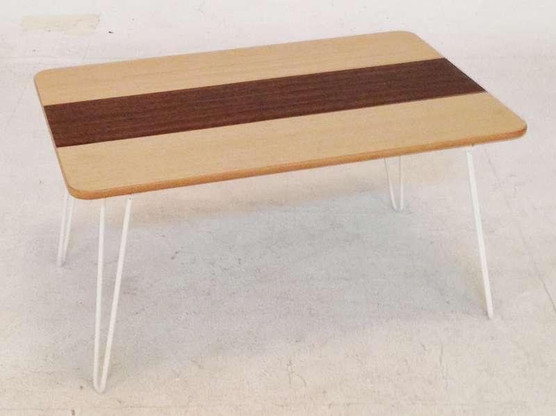 10495 突板折畳ローテーブル ライン 6040