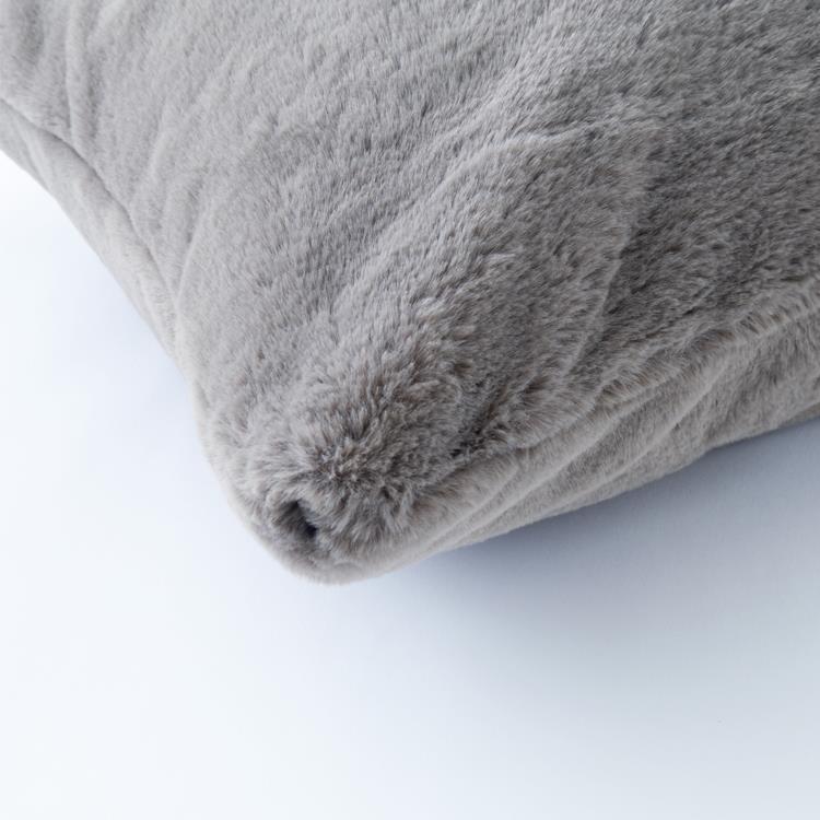 ラビットファー+3℃ 背当クッション  45×45  GY