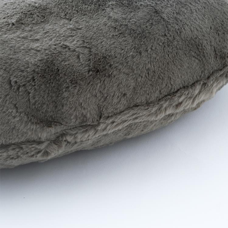 ラビットファー+3℃ ハートクッション  46×42  GY