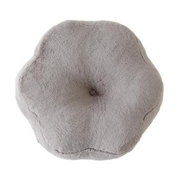 ラビットファー+3.8℃花形クッション GY 45×15