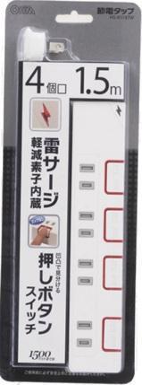 HS-K1187W  4口1.5m雷ガード付PUSH 28