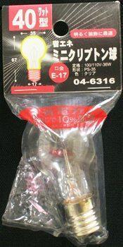 04-6316  クリプトン球 PS35 40W 口金:E17 CL