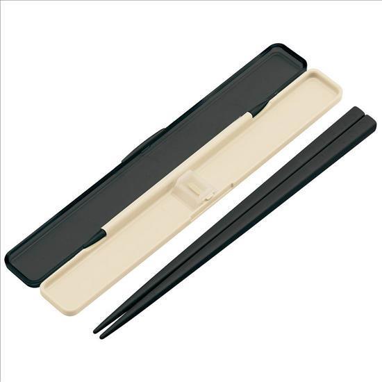 ABC45  レトロフレンチ音の鳴らない箸・箸箱セット BK 21cm