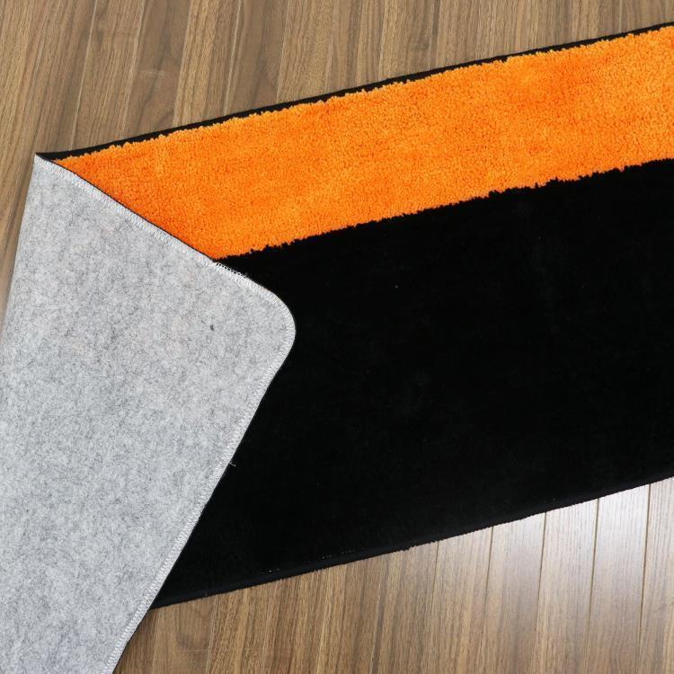 カラーズキッチンマット  BK/OR 45×180